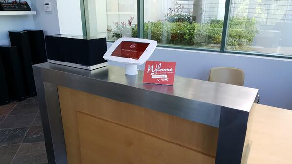Best visitor management system in a reception area