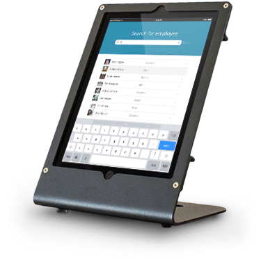Greetly e-receptionist in Heckler Design mount registers visitors and quickly connects them with their host employee