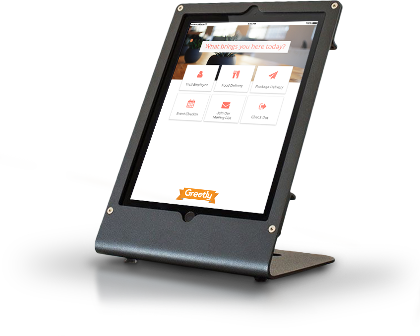 Greetly digital receptionist app helps modernize office reception. Greetly can register visitors and deliveries, send reception notifications, capture eSignatures of non-disclosure agreements, print visitor badges and capturing everything in a cloud-based visitor log.