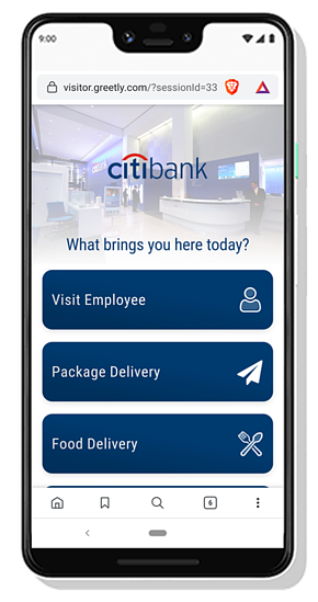 Touchless visitor management on a smartphone browser