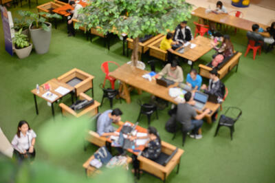 Overhead picture of a coworking space with lots of greenery
