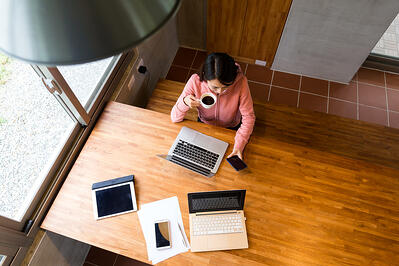 Woman working comfortably at a clean work station