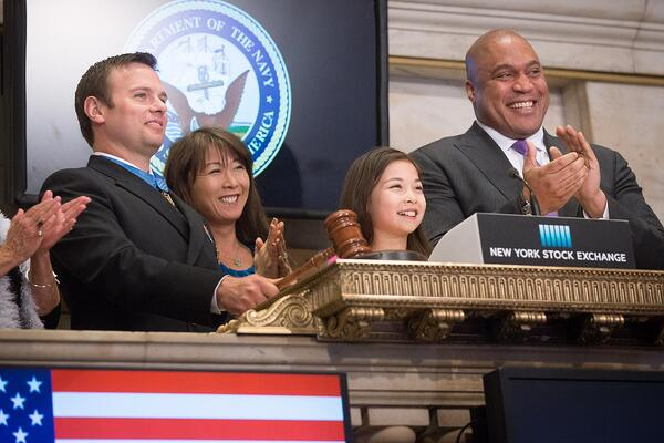 Ringing the bell at the New York Stock Exchange