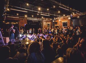 Live music performance in front of a packaged audience at at Duke Studios in Leeds