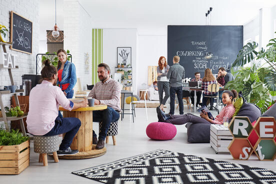 Workers in a high-tech coworking space