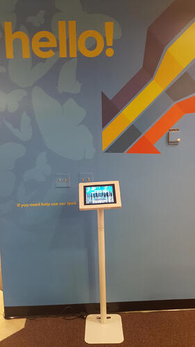 Floor stand visitor management system kiosk