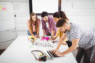 Members collaborating in a coworking space
