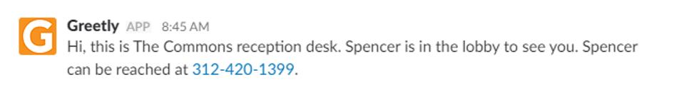 Sample lobby sign in notification - Greetly + Slack integration
