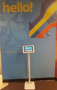 Greetly visitor check-in kiosk at a coworking space