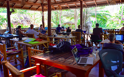 Coworking space has a unique identity - outdoor coworking in the jungle