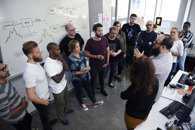 Diverse workforce in modern office