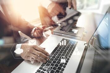 Employee using smart office technology