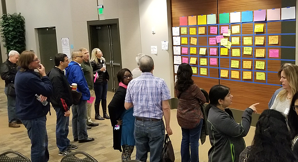 Attendees selecting topics at unconference