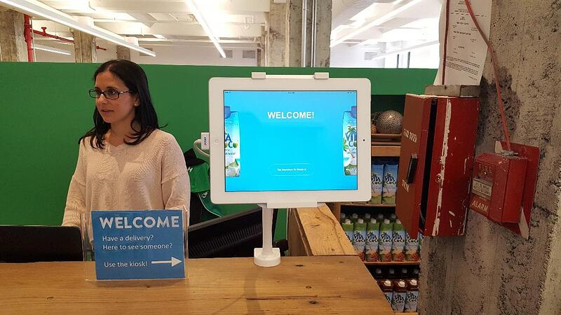 Greetly visitor management app at Vita Coco headquarters
