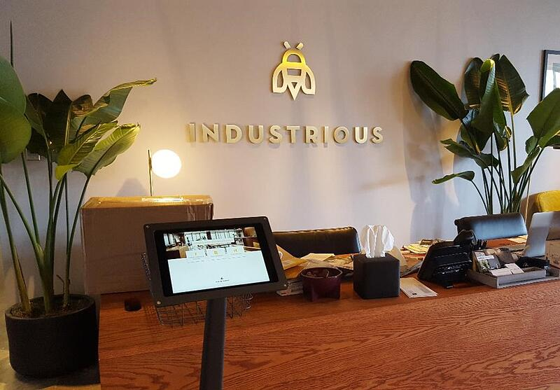 Greetly visitor registration app at Industrious Office Dallas