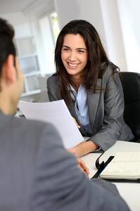Interview candidate meeting with a recruiter