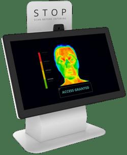 Desktop visitor sign in kiosk with temperature screening camera