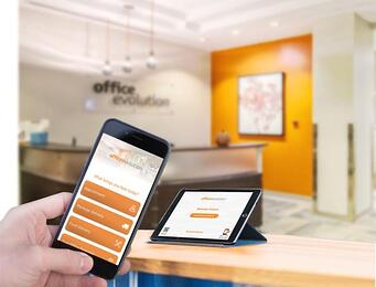 Office Evolution touchless visitor check-in system