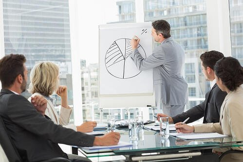 Businessman using data to draw a pie chart in a meeting