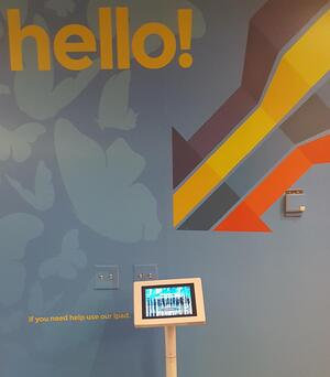 Attractive visitor registration kiosk