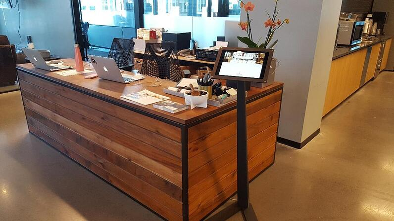 Coworking sign in app at Industrious Office Raleigh