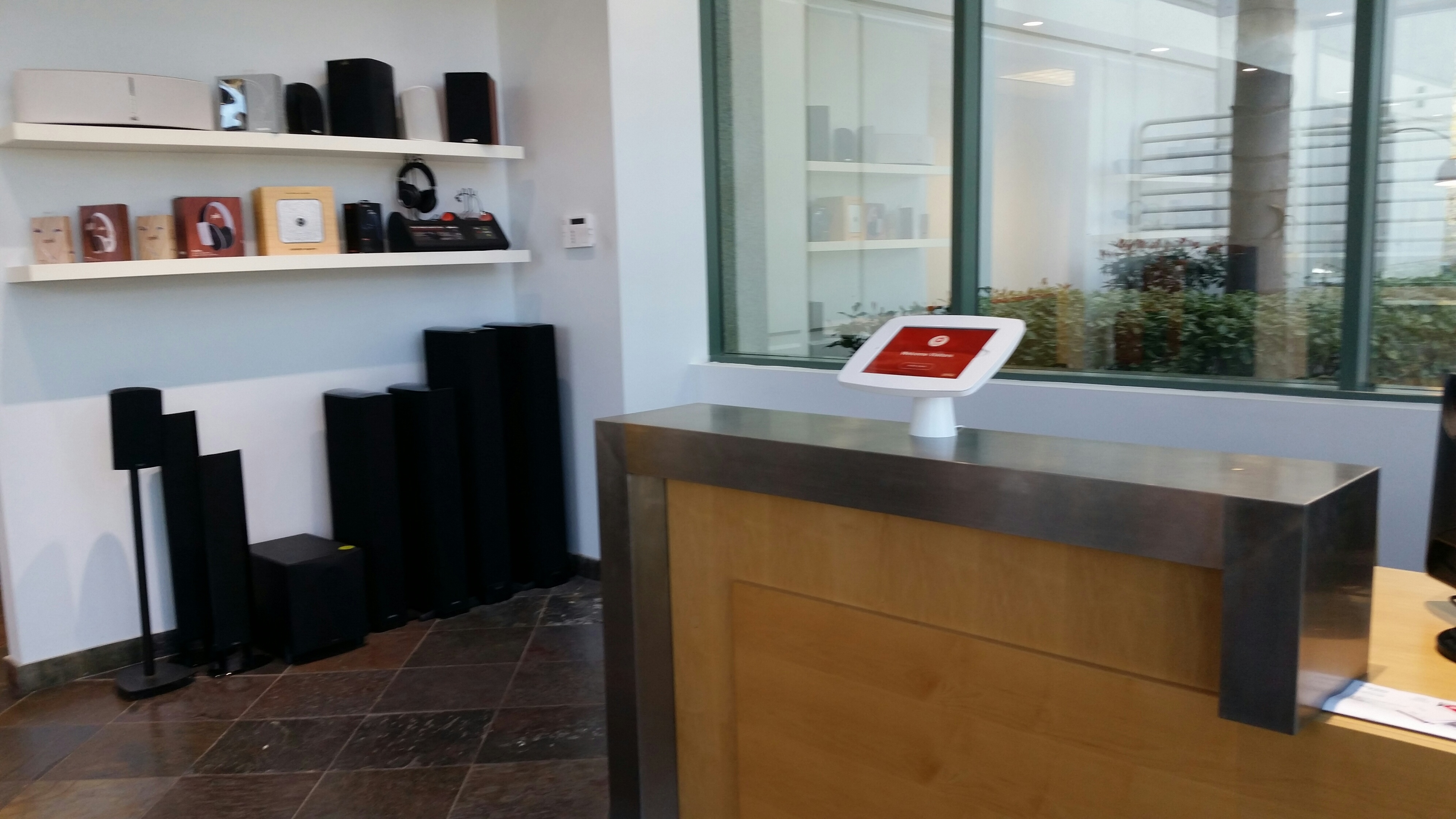 Greetly iPad receptionist being used in a modern office
