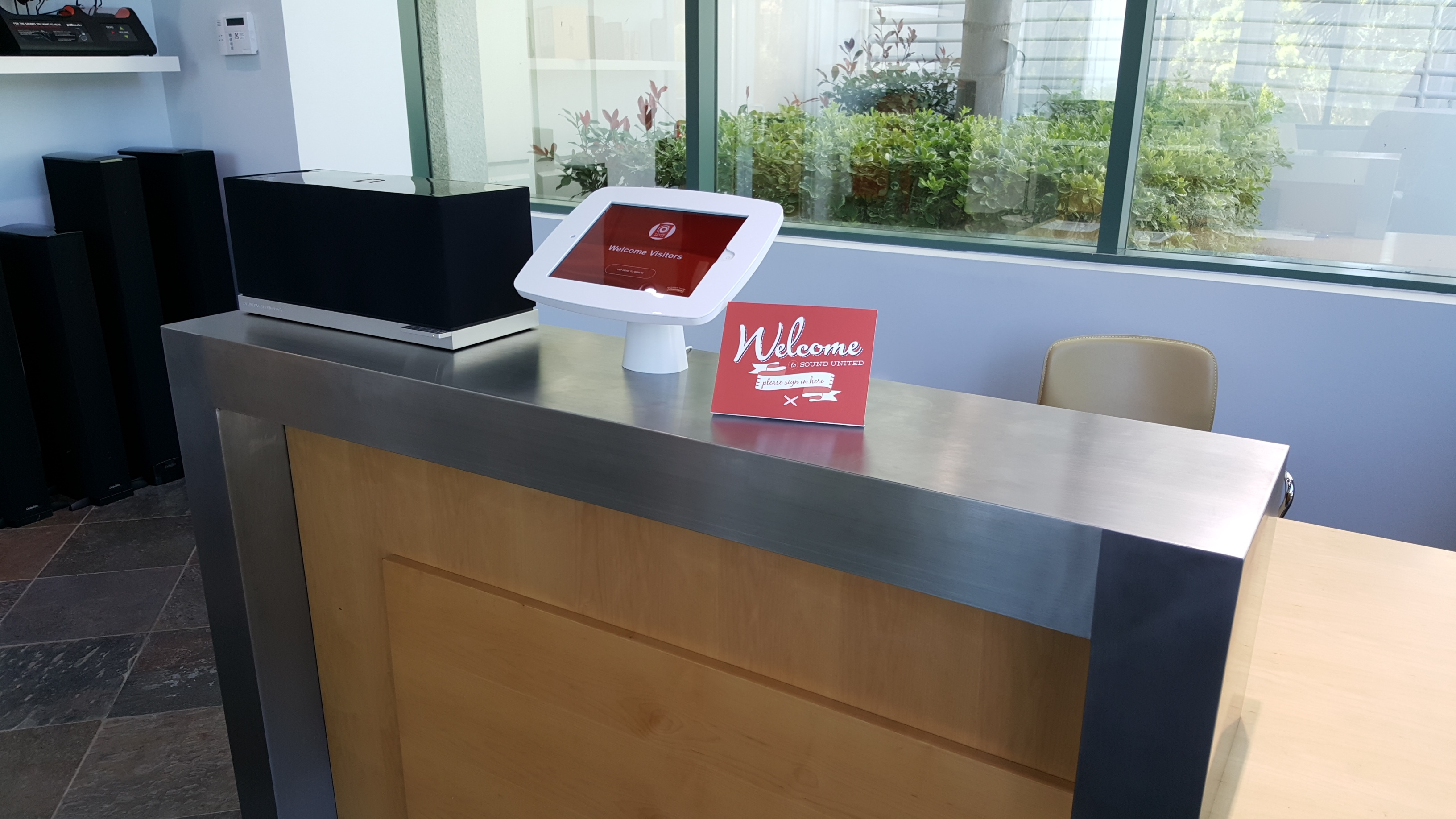 The iPad receptionist app on a kiosk