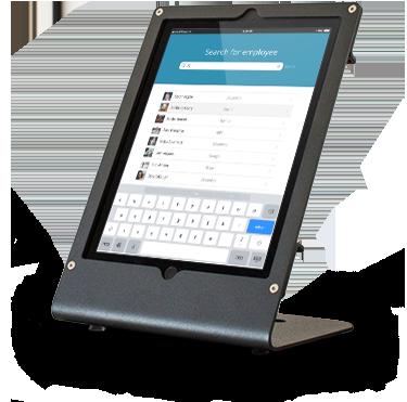 Greetly iPad receptionist kiosk hardware in a desktop mount