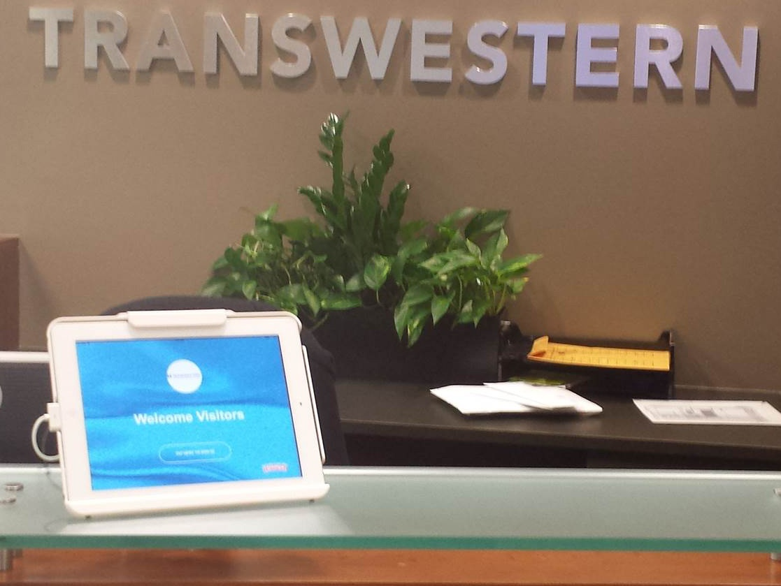 Visitor registration kiosk at Transwestern