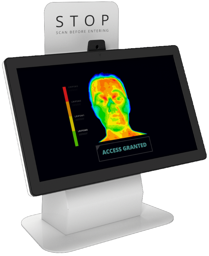 temperature screening desktop kiosk with integrated visitor management system